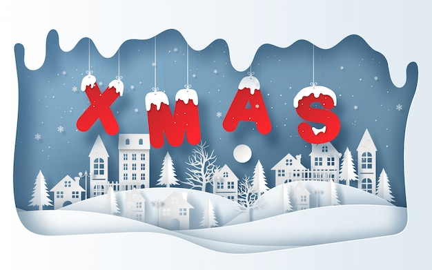 Style de papier d'art du village en hiver avec mot xmas suspendu