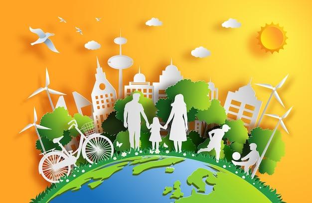 Style de papier d'art de la famille profiter de l'air frais dans le parc.