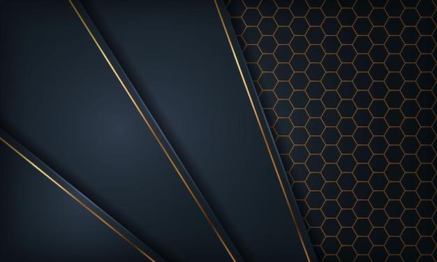 Style de papier bleu foncé avec ligne dorée sur fond hexagonal