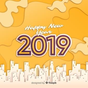 Style de papier de fond du nouvel an 2019