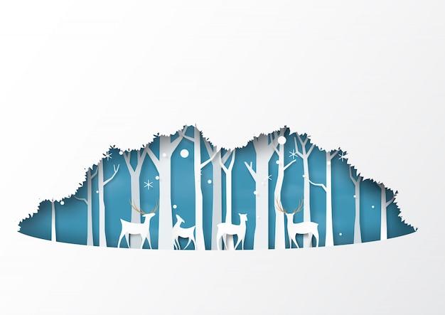 Style de papier de fond hiver saison forêt silhouette fond.