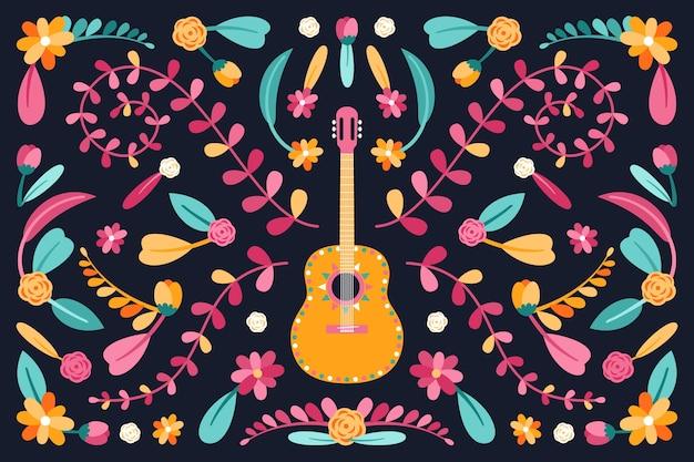 Style de papier peint mexicain coloré design plat