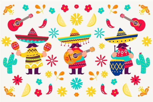 Style de papier peint mexicain coloré