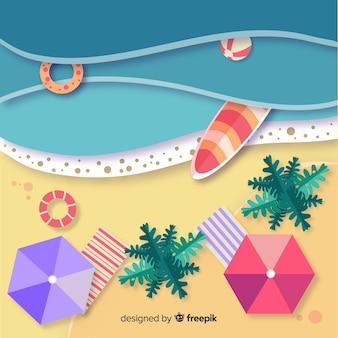 Style de papier vue de dessus de plage