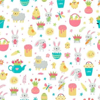 Style de pâques avec des lapins, des œufs et un panier en illustration de modèle sans couture de couleurs pastel