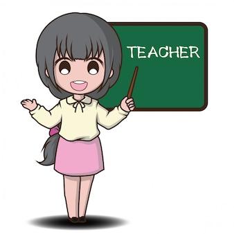 Style de personnage de dessin animé mignon enseignant.