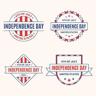 Style plat de badges de jour de l'indépendance