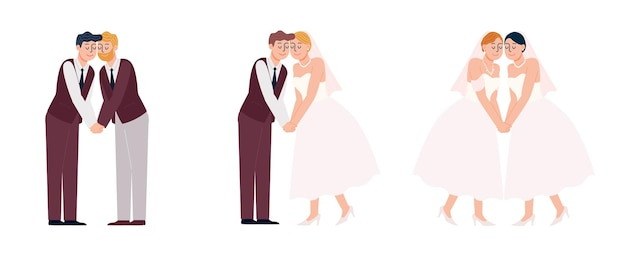 Style plat baiser couple lgbtq dessin animé en robe de mariée