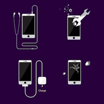 Style plat de bannière de smartphone icône vector