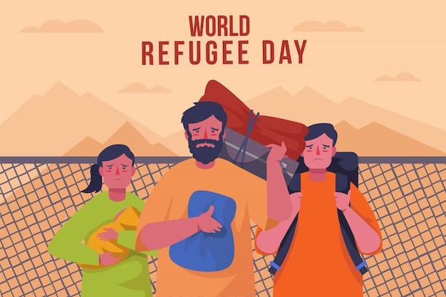 Style plat de célébration de la journée mondiale des réfugiés