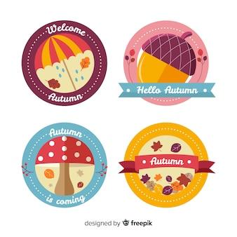 Style plat de collection de badges d'automne