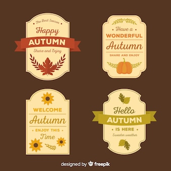 Style plat de collection de badges d'automne