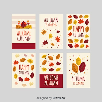 Style plat de collection de cartes automne