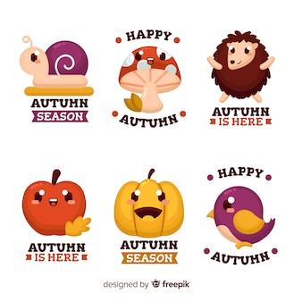 Style plat de la collection d'éléments automne