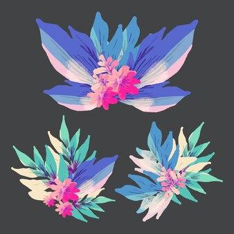 Style plat de la collection d'éléments floraux