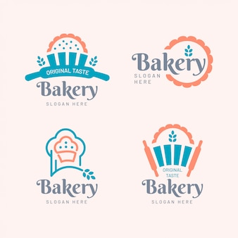 Style plat de collection de logos de boulangerie