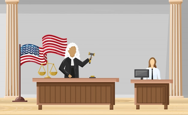 Style plat cour de justice. brochure des ordres de loi