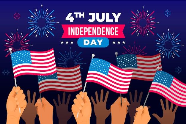 Style plat de la fête de l'indépendance