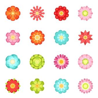 Style plat de fleurs différentes dans le jardin
