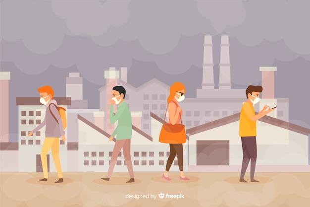 Style plat de fond de concept de pollution