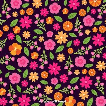 Style plat de fond de fleurs colorées