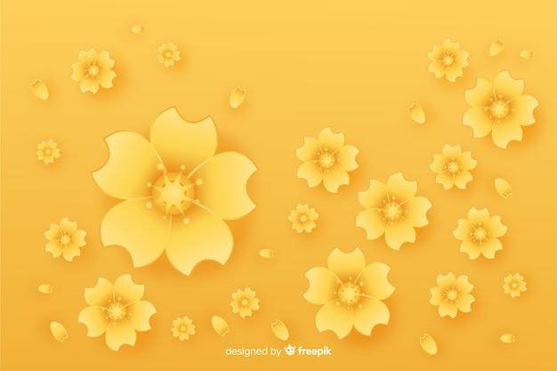 Style plat de fond de fleurs d'or