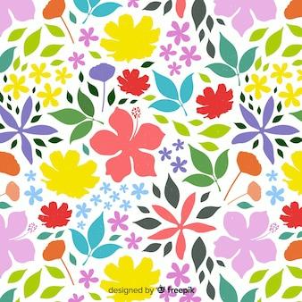 Style plat fond floral coloré