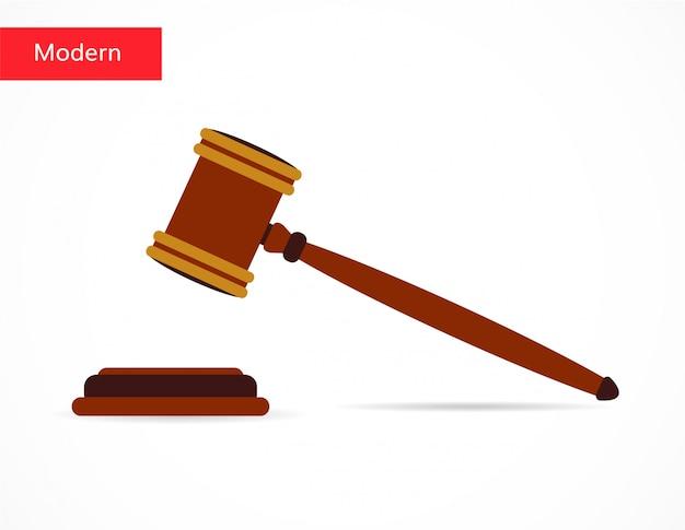 Style plat d'icône de vente aux enchères de marteau de la justice