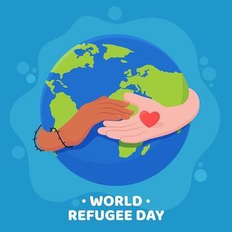 Style plat de la journée mondiale des réfugiés