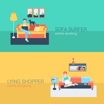 Style plat mis les gens canapé loisirs détendre l'activité en ligne. homme assis surfer sur le site internet de l'ordinateur portable. couché jeune femme salon ordinateur portable shopping commande internet. collection de personnes créatives.