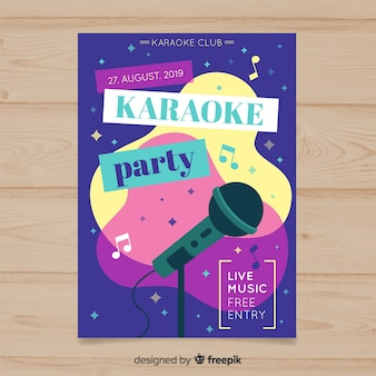 Style plat de modèle affiche karaoké