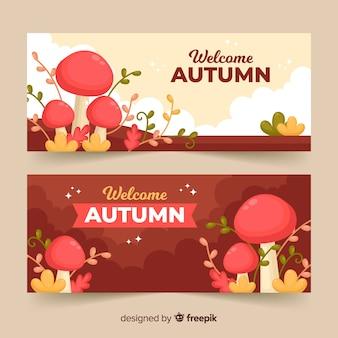 Style plat modèle bannière automne