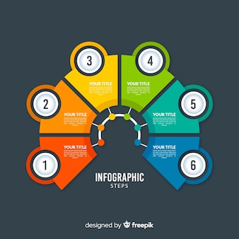 Style plat de modèle étapes colorées infographie
