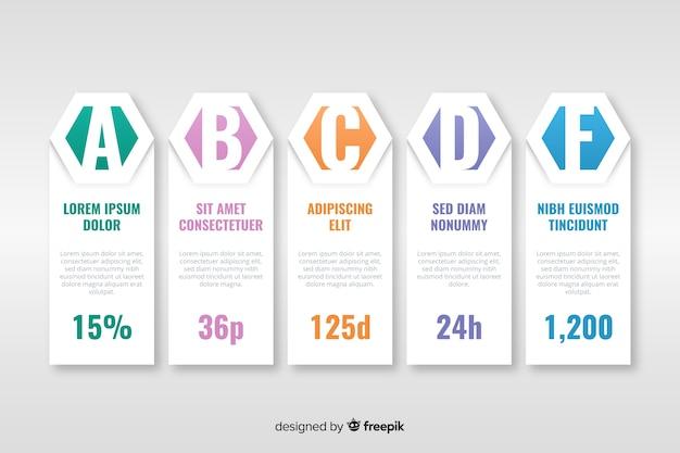 Style plat de modèle d'infographie timeline
