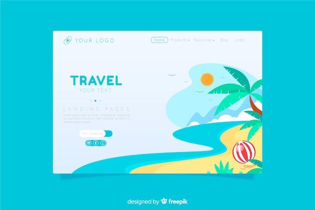 Style plat de page de destination de voyage