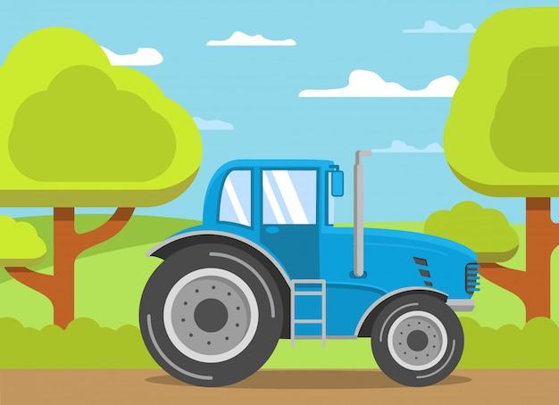 Style plat de paysage rural tracteur agriculteur.