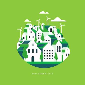 Style plat de paysage de ville écologique.