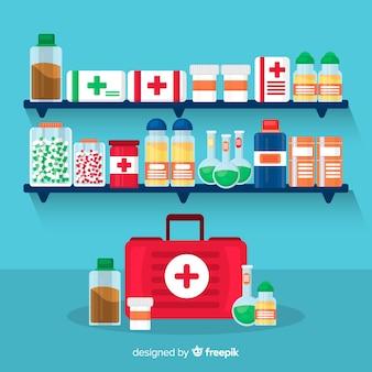 Style plat de pharmacie concept fond