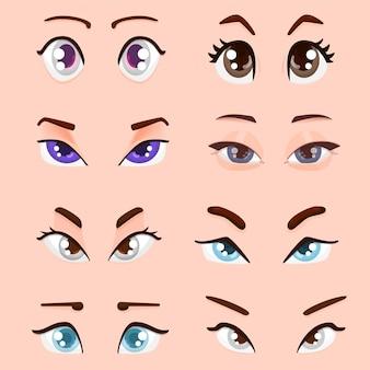Style plat des yeux féminins de dessin animé mignon.