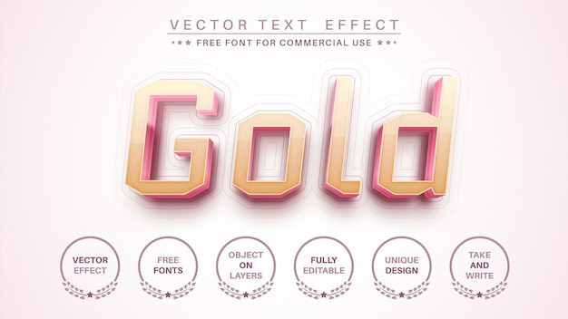 Style de police d'effet de texte d'édition d'or 3d