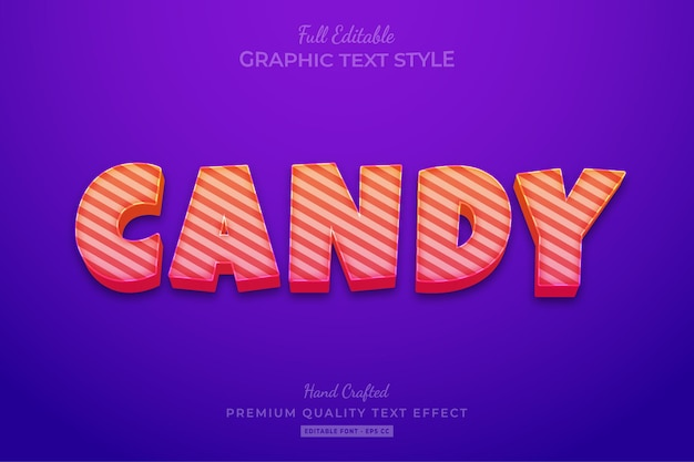 Style de police d'effet de texte modifiable candy gradient strip