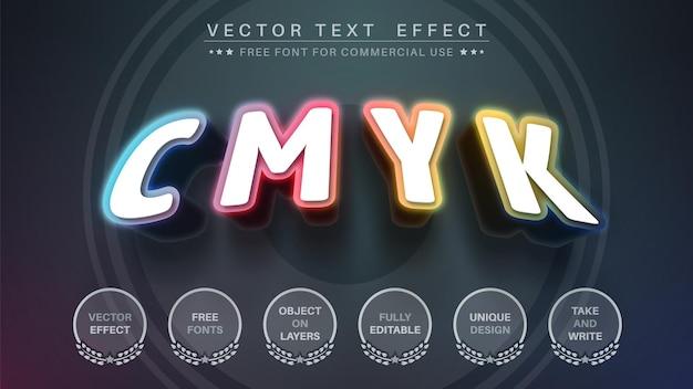 Style de police d'effet de texte modifiable cmjn 3d