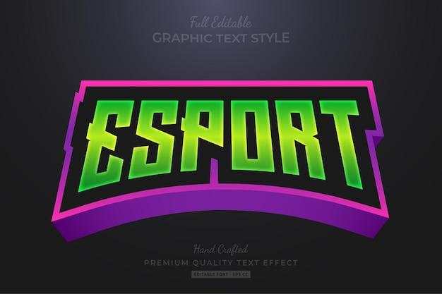 Style de police d'effet de texte modifiable dégradé de l'équipe esport vert violet
