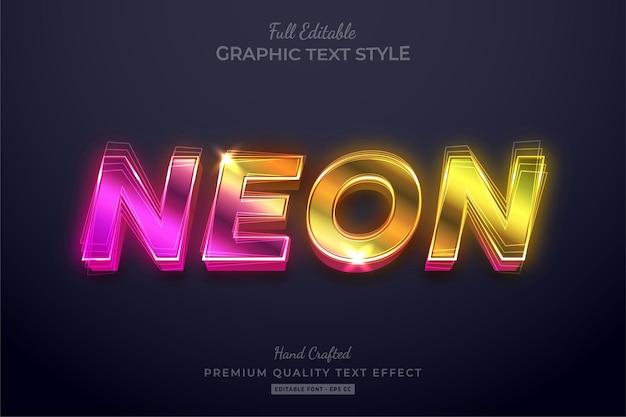 Style de police d'effet de texte modifiable dégradé néon