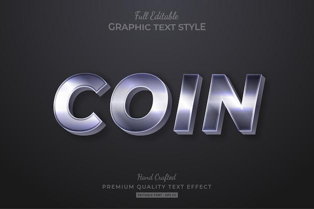 Style de police d'effet de texte modifiable élégant argent pièce