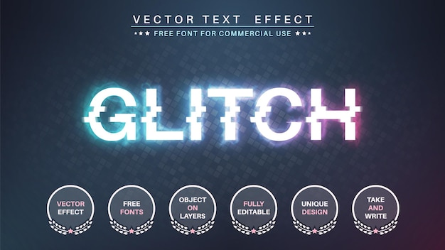 Style de police d'effet de texte modifiable glitch
