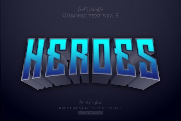 Style de police d'effet de texte modifiable heroes blue