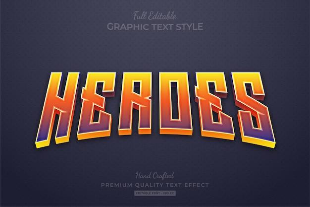 Style de police d'effet de texte modifiable heroes gradient movies