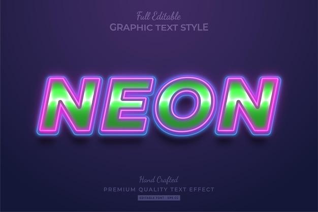 Style de police d'effet de texte modifiable néon brillant