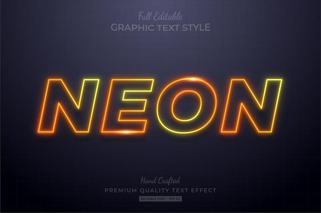 Style de police d'effet de texte modifiable néon dégradé lueur